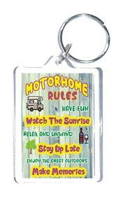 Fun Motorhome Gift - Motorhome Rules - Novelty Keyring - Friend Loves Motorhomes