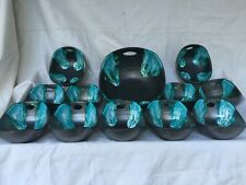 service vallauris ceramique  noir bleu