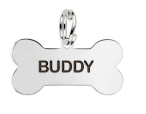 Medium Personalised Sterling Silver Bone Shaped Dog Name Tag by MYLEE London