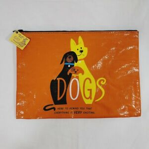 Blue Q Happy Dogs Large Zip Pouch Bag Clutch Everything is Very Exciting NWT