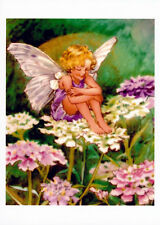 Art Print Fairyland Flowers Pink & Purple Candytuft Child Fairy Floral Garden