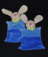 Lot 2 peluche doudou chien lapin beige plat NICOTOY bleu 2 tons bandana TTBE