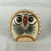 "Mexican Tonala Hand Painted Pottery Owl Birds Large 8"" Folk Art"