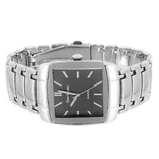 Mens High Fashion Black Square Face Silver Tone Wrist Watch Adjustable Links NEW