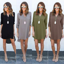 UK Women Blouse Chiffon Long Sleeve Ladies T Shirt Casual Loose Short Dress Tops