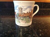 Godshill I W Coffee Cup The Old Cottages Church Made in England Mug Rare