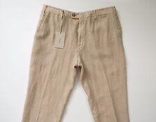 $850 NEW BRIONI Beige 100% Linen Flat Front Pants Slacks Size 38 US 54 Euro