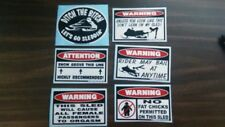 FUNNY WARNING SNOWMOBILE SLED STICKERS SNO X RACING SNOW TRAIL SKI STUD 6 PC GR2
