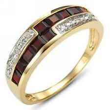 Halo Size 8 Princess Cut  Garnet 18K Gold Filled Womens Engagement Fashion Ring