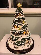"15"" Thomas Kinkade Illuminated Village Christmas Tabletop Tree 2005 Beautiful"