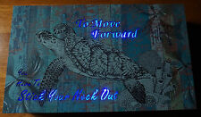 BEAUTIFUL LIGHTED SEA TURTLE Blue Light Box Sign Tropical Beach Home Decor NEW