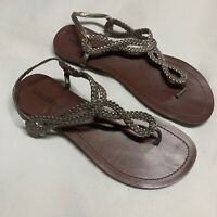 Kelly & Katie Women's Thong Sandals Size 8 Strappy Metallic Silver Braid EUC