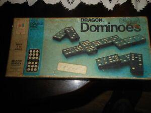 Vtg 1970 Wooden Dragon Double Nine Dominoes Milton Bradley Halsam 55 pieces