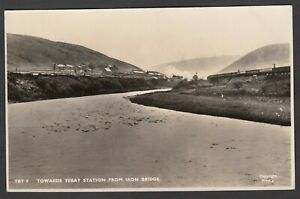 Postcard Tebay nr Kendal Cumbria railway train and houses posted 1953 RP