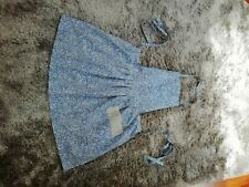 Handmade vintage style blue floral full apron, new without tags