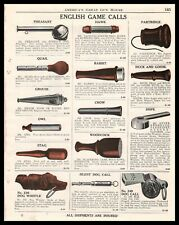 1940 English Game Calls & Dog Whistle Print Ad Rabbit Stag Duck Partridge More