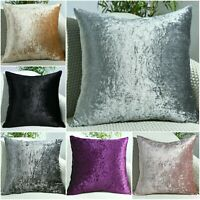 "NEW Crushed Velvet Cushion Covers Luxury Plush Plain 17""X17"", 24""X24"", 22""X22"""