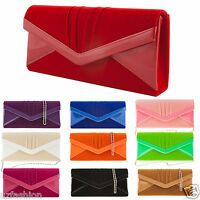 NEW PATENT SUEDE WEDDING LADIES PARTY PROM EVENING CLUTCH HAND BAG PURSE