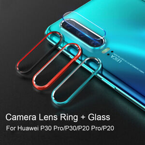 For Huawei P30 P20 30 Pro Tempered Glass Camera Lens Film + Protective Ring Set