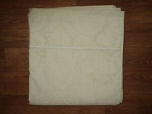 RALPH LAUREN Paisley Flat Sheet Queen Size subtle Tan Beige White GUC