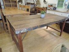 INDUSTRIAL RUSTIC RECLAIMED HARDWOOD FOLDING LEGS DINING TABLE 175CM X 88CM
