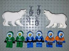 LEGO Arctic Explorer Minifigure Lot & Polar Bears Base green black blue hood