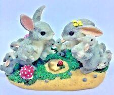 Retired Charming Tails Figurine An Abundance Of Love Bunny Family on Mushrooms