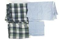 Lot of 2 Pillow Cases 2 Flat Sheets For Fabric DIY Cutting Blue Plaid Flannel