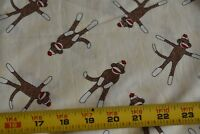 By 1/2 Yd, Brown Sock Monkeys on Cream Quilt Cotton, Moda/Erin Michael, N3196