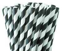 1000 Black and White Paper Straws 100/'s