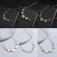 Fashion Women Star Love Heart Silver Pendant Necklace Long Chain Jewelry Gift