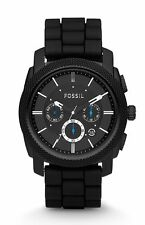 FOSSIL FS4487 MACHINE CHRONOGRAPH BLACK SILICONE WATCH FOR MEN-COD #XmasBonus