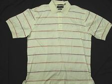 Greg Norman Cream Playdry Stripe Polo Golf short Sleeve Shirt  NEW Men's XL HA