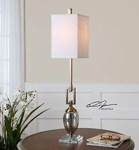 Bronze Link Metal Mercury Glass Buffet Lamp | Table Accent