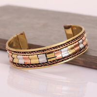 Copper Adjustable Bracelet Cuff Wristlet Wrist Band Bangle Luck-Men Women