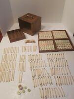 ANTIQUE 1920's MAJONG SET BAMBOO & BONE TILES WOOD BOX ASIA EXTREMELY RARE!
