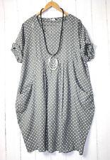 Italy Kleid Ballonkleid  46 48 50 Grau Lagenlook Pünktchen Dots
