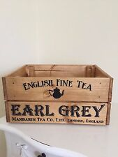 Earl Grey English Fine Tea Design Vintage Wine Crate Box Storage Shabby Chic