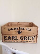 Earl Grey English Fine Tea Design Vintage Style Design Wine Crate Box Storage