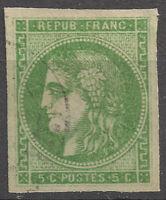 FRANCE CERES Bordeaux N°42B vert-jaune vif oblitération légère belles marges TTB