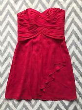 David's Bridal Crinkle Chiffon Dress with Cascade Detail F14847 Cherry Red Sz 12