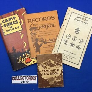 Boy Scout 4 Pamphlets Songs, Patrol Records, Merit Badge Requirements Camp Aid