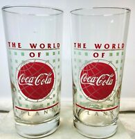 Vintage 1995 The World Of Coca-Cola Atlanta Museum 16 oz Tumblers - Set of 2