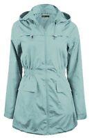 New Ladies Plus Size Fishtail Hooded Parka Mac Trench Jacket Raincoats 8-24