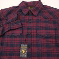 Lucky Brand Western Saturday Stretch Flannel Shirt Mens XL Blue & Red Plaid