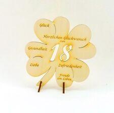 Geschenk zum 18 Geburtstag Kleeblatt mit Glückwünsche, Jubiläum Holz 11cm Glück