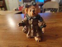 "1997 TBC 3"" Tall Resin Teddy Bear In Plaid Dress Figurine #2749"