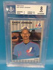 1989 Fleer #381 Randy Johnson Expos Beckett Graded 8 Nm-Mt Béisbol Tarjetas