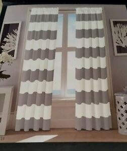 NEW Nautica Window Drapery Pair 52 x 96 Inches Gray and White