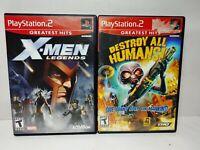 Destroy All Humans + X-Men Legends PlayStation 2 Video Game Lot PS2 Tested GH